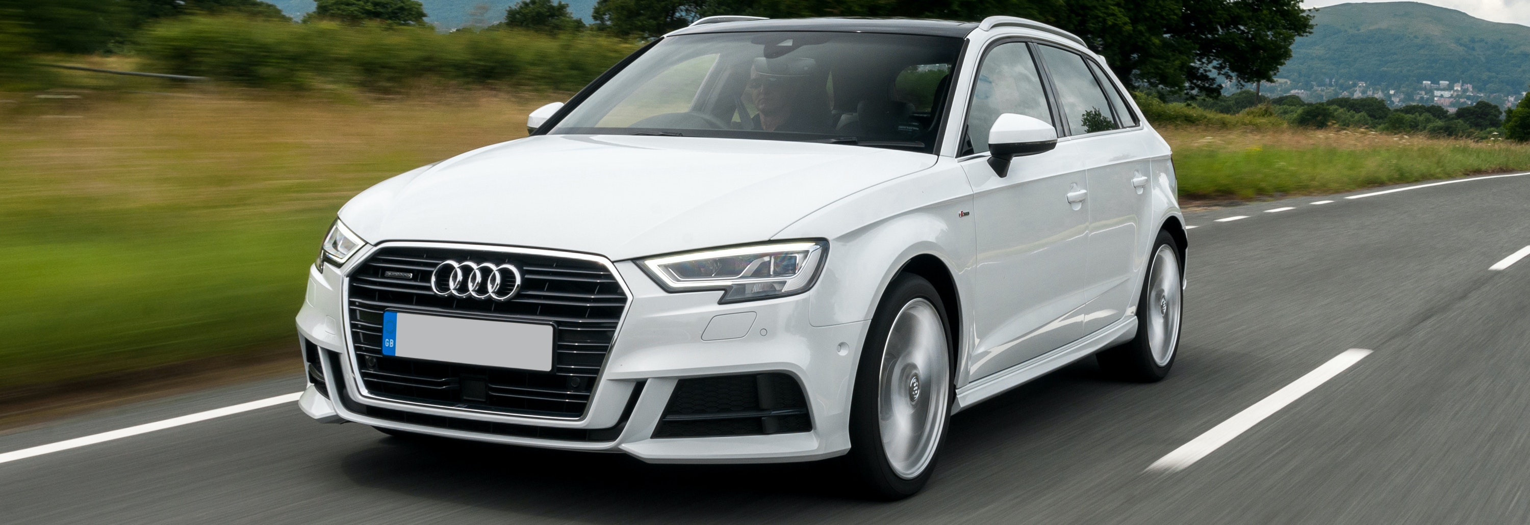 2018 audi a3 sportback white driving front