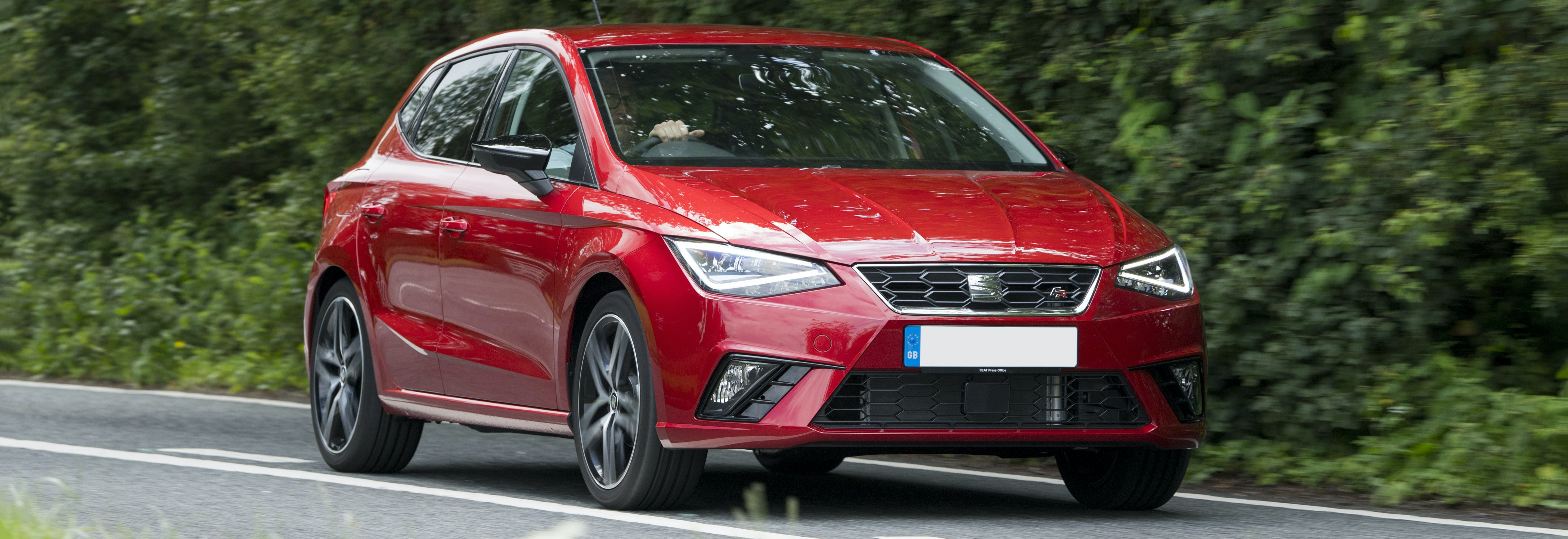 2018 seat ibiza red driving front