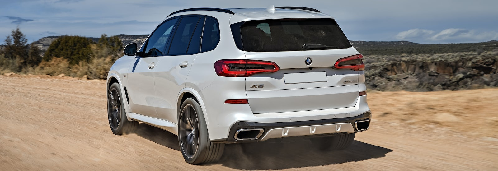 2019 Bmw X5 White Driving Rear Dirt Road