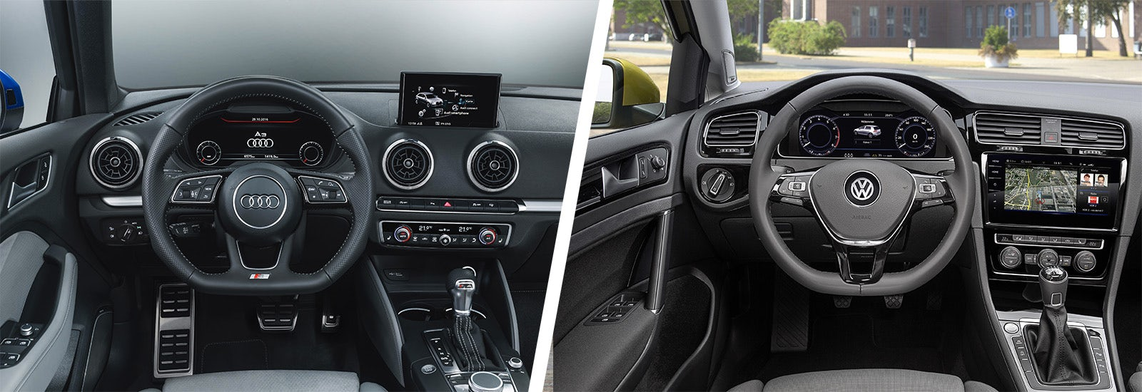 Audi A Vs VW Golf Sidebyside Comparison Carwow - Volkswagen audi