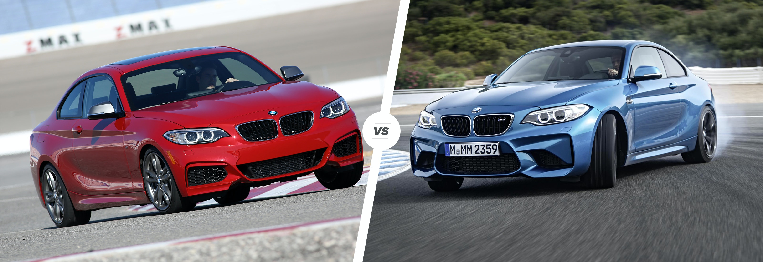 bmw m235i vs bmw m2 performance coupe clash carwow rh carwow co uk  bmw m2 vs m235i vs m240i