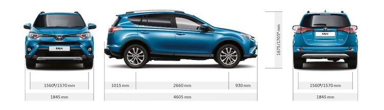 Toyota Rav4 And Hybrid Sizes Dimensions Guide