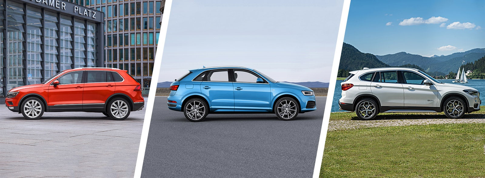 vw tiguan vs audi q3 vs bmw x1 comparison carwow. Black Bedroom Furniture Sets. Home Design Ideas